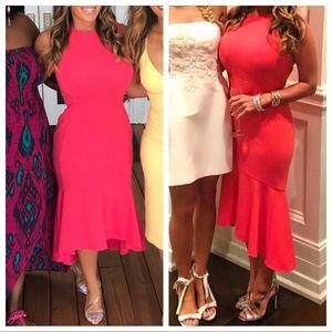 Calvin Klein Coral Flounce Hem Midi Dress - Sz 6